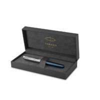 Kép 4/7 - Parker Royal Sonnet Premium Töltőttol Metal Blue Króm klipsz 18 Karátos arany F-es hegy