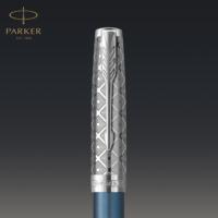 Kép 7/7 - Parker Royal Sonnet Premium Töltőttol Metal Blue Króm klipsz 18 Karátos arany F-es hegy
