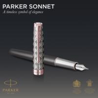 Kép 6/9 - Parker Royal Sonnet Premium Töltőtoll Metal Grey Arany-rózsaszín klipsz 18 Karátos arany F-es hegy