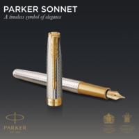 Kép 5/8 - Parker Royal Sonnet Deluxe Töltőtoll 925 Ezüst Mistral Arany klipsz 18 Karátos arany F-es hegy