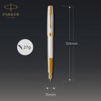 Kép 6/8 - Parker Royal Sonnet Deluxe Töltőtoll 925 Ezüst Mistral Arany klipsz 18 Karátos arany F-es hegy