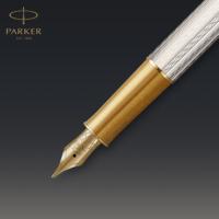 Kép 7/8 - Parker Royal Sonnet Deluxe Töltőtoll 925 Ezüst Mistral Arany klipsz 18 Karátos arany F-es hegy