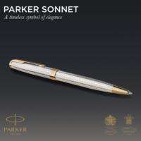 Kép 4/7 - Parker Royal Sonnet Deluxe Golyóstoll 925 Ezüst Mistral, Arany Klipsz