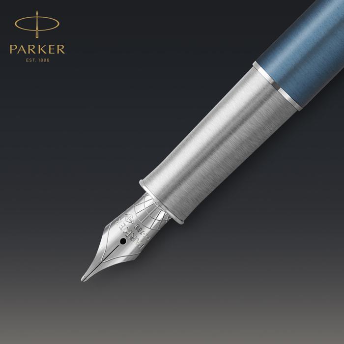 Parker Royal Sonnet Premium Töltőttol Metal Blue Króm klipsz 18 Karátos arany F-es hegy