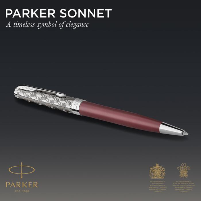Parker Royal Sonnet Premium Golyóstoll Metal Red Króm klipsz
