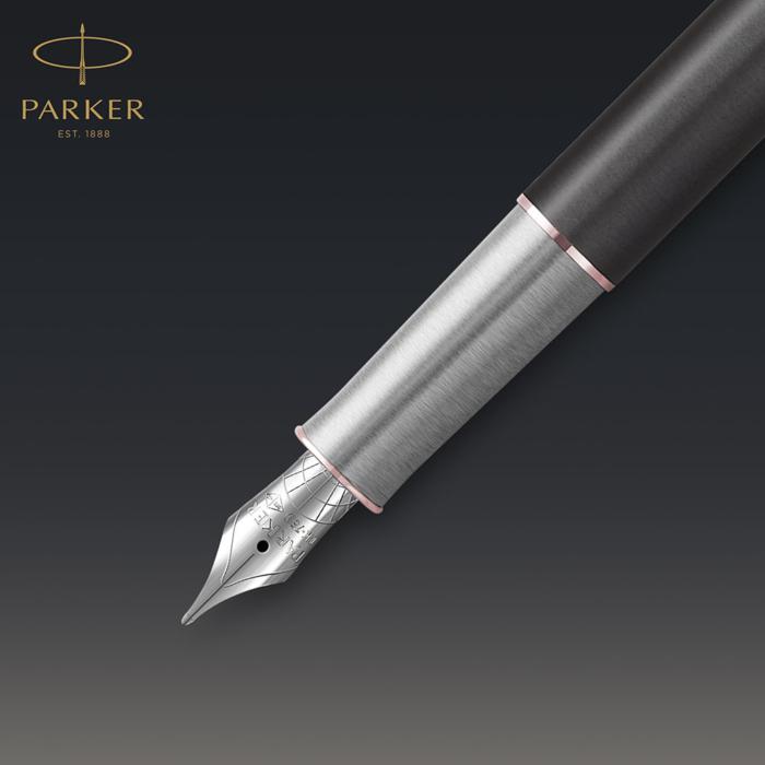 Parker Royal Sonnet Premium Töltőtoll Metal Grey Arany-rózsaszín klipsz 18 Karátos arany F-es hegy