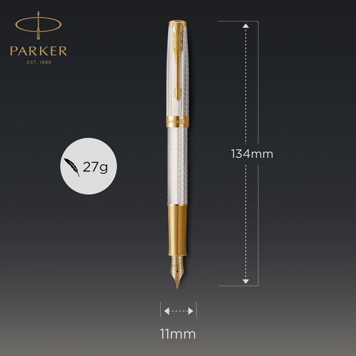 Parker Royal Sonnet Deluxe Töltőtoll 925 Ezüst Mistral Arany klipsz 18 Karátos arany F-es hegy