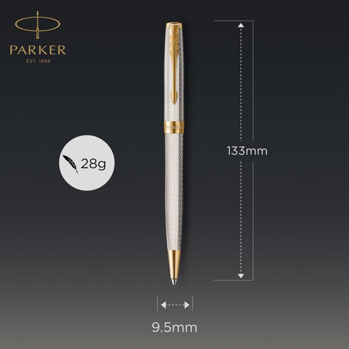 Parker Royal Sonnet Deluxe Golyóstoll 925 Ezüst Mistral, Arany Klipsz