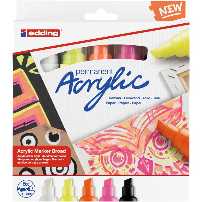 Edding 5000 Akril marker 5 db-os készlet B 5-10 mm Neon színek