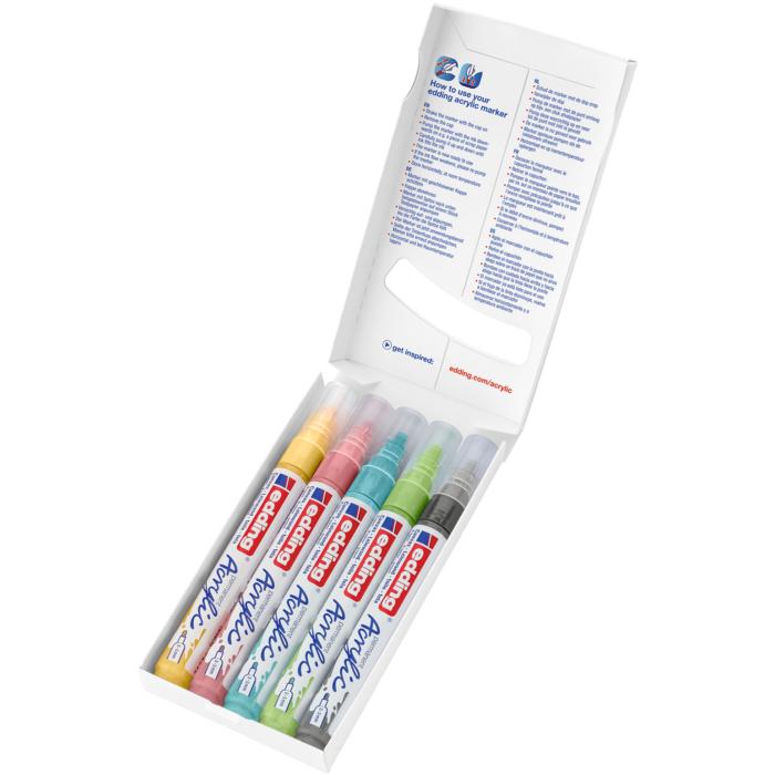 Edding 5100 Akril marker 5 db-os készlet M 2-3 mm Pasztel színek