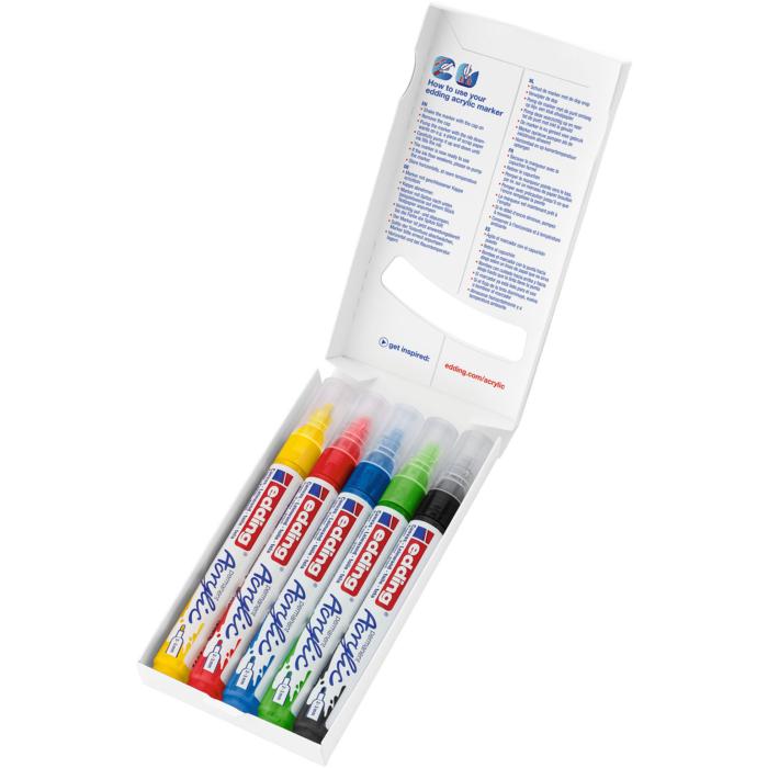 Edding 5100 Akril marker 5 db-os készlet M 2-3 mm Alap színek