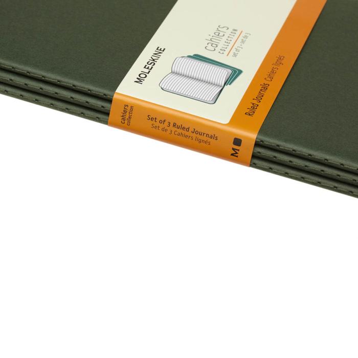 """Moleskine Jegyzetfüzet Cahier 3db Mirtusz Zöld """"L"""" Méret Vonalas"""