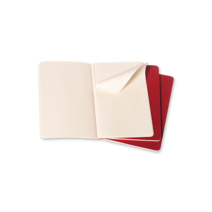 """Moleskine Jegyzetfüzet Cahier 3db Piros """"L"""" Méret Vonalas"""