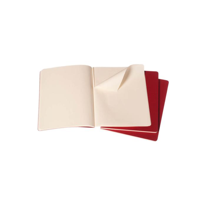 """Moleskine Jegyzetfüzet Cahier 3db Piros """"XL"""" Méret Sima"""